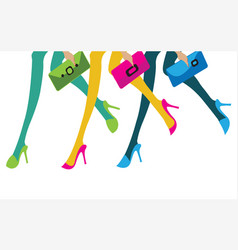 feet of three girls with their purses going to vector image