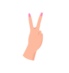 Female hand in piece gesture with pink manicure vector