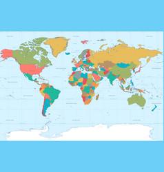 Flat colors world map vector