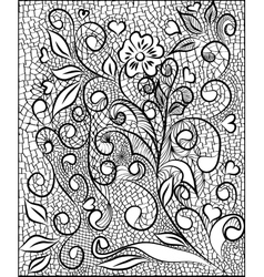 Flower pattern engraving scroll motif for vintage vector