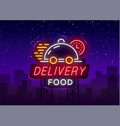 Food delivery neon sign logo in neon style light vector