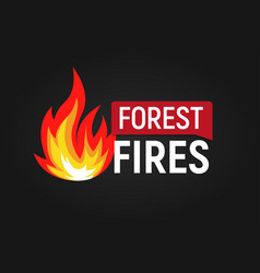 forest fires big flame with text flat logo vector image