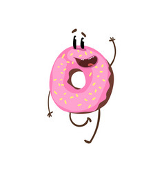 Friendly doughnut character walking and waving vector