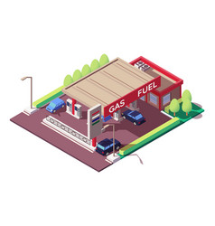 gas station with sedan and classic car parking vector image