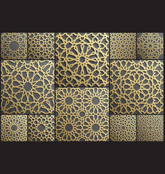 gold islamic art 3d pattern set pattern islamic vector image