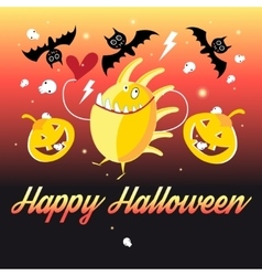 Graphics Halloween monsters and pumpkins vector image