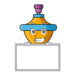 Grinning with board spinning top character cartoon vector