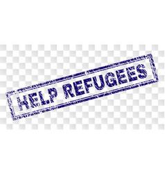 Grunge help refugees rectangle stamp vector