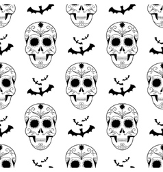 Halloween seamless pattern scary skulls vector image