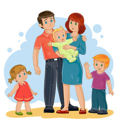 happy family - dad mom daughter son and vector image
