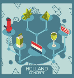 holland color concept isometric icons vector image