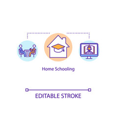 Home schooling concept icon parent teaching kid e vector