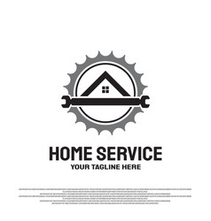 Home service logo design with gears and wrench vector