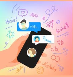 Human gesture using modern smartphone say hallo vector