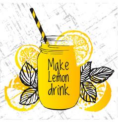 ink hand drawn with lemon drink lemons and tea vector image