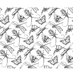 insects sketch decorativeseamless pattern vector image