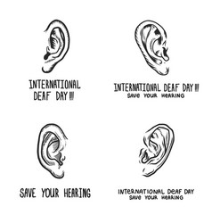International deaf day banner set hand drawn vector