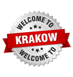 Krakow 3d silver badge with red ribbon vector
