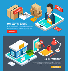 Mail isometric banner set vector