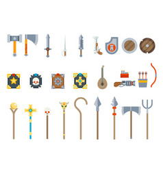 Medieval game weapons set fantasy rpg vector