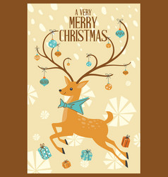 merry christmas greeting card mid century mod vector image