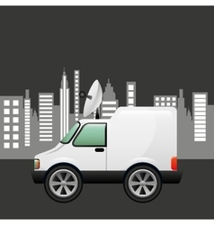 Mini truck citi background design vector