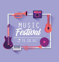 music festival with professional instruments to vector image