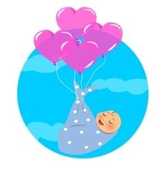 Newborn Fly with Balloon vector