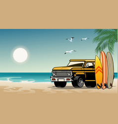 old classic suv car on surf beach vector image