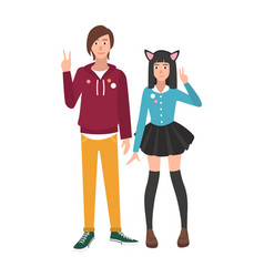 Pair boy and girl japanese anime and manga fans vector