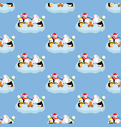 Penguins and rabbit pattern vector