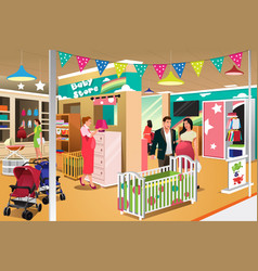 People buying a crib vector