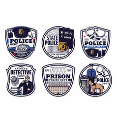 police detective justice icons law and order vector image