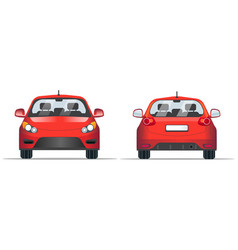Red car front and back view flat style template vector