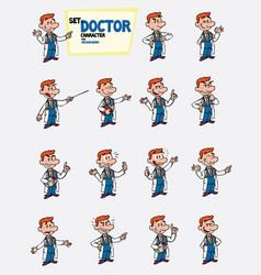 Red-haired doctor set of postures of the same vector