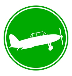 Retro military airplane button vector image