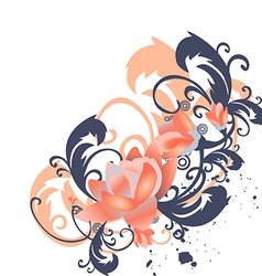 Roses leaves border corner Stylized flowers vector