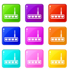Router icons 9 set vector