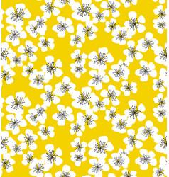 sakura blossom seamless pattern on sunny yellow vector image