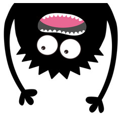 Screaming monster head silhouette two eyes teeth vector