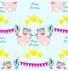 seamless pattern unicorn with crown vector image