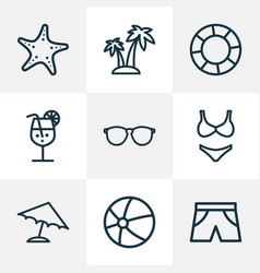 Season outline icons set collection of sea star vector