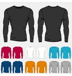 Set of colored long sleeve shirts templates for vector