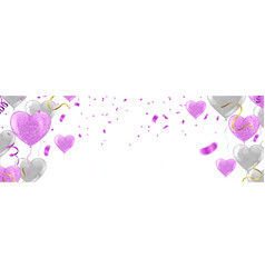 set of pink white transparent with confetti vector image