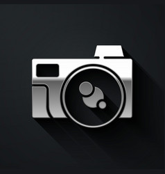 Silver photo camera icon isolated on black vector