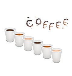 Six Kind of Coffee in Disposable Cup vector image