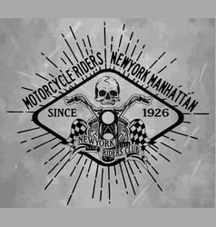 skull tee graphic design motorcycle club vector image