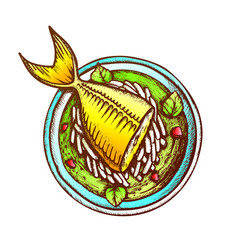 Soup with fish daikon and condiment retro vector