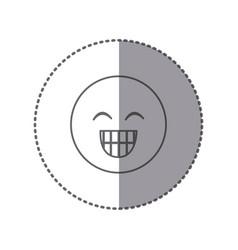 Sticker silhouette emoticon face happines vector
