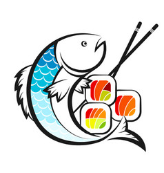 sushi and salmon symbol vector image